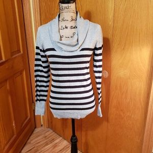 ANA grey & black striped cowl neck sweater